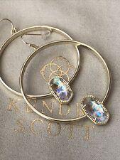 Kendra Scott Gold Tone Elora Hoop Earrings in Gold Tone Dichroic Glass