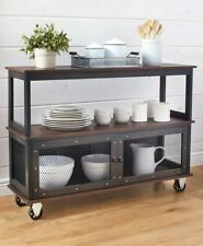 Industrial Style Rolling Kitchen Dining Buffet Cart Island Table Household Black