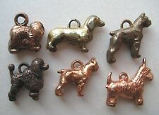1940's-50's Vintage Metal Clad Mixed Breed Dog Gumball Prize Charms Lot