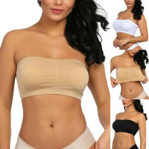 Women Ladies Strapless Seamless Padded Boob Bandeau Tube Tops Bra Plus Size FZOU