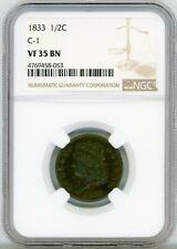 1833 Classic Head Half Cent 1/2C Brown NGC VF 35 BN C-1