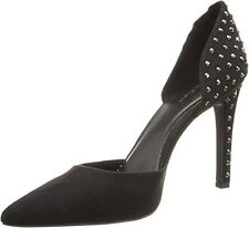 Calvin Klein Bellona Belona Black Studded Microsuede Pumps Pointed toe 6 New Box