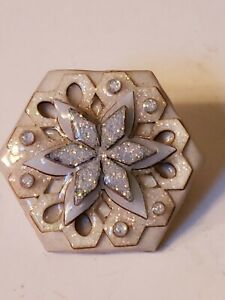 Artisan House Pin Design by Lucinda Glittery Snowflake Winter Blue White. Gems