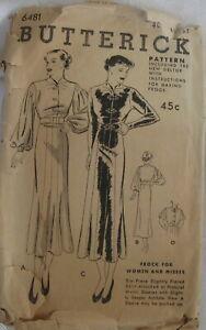 Antique Butterick Dress Frock Womens Sewing Pattern  # 6481