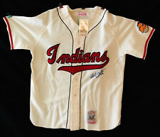 Bob Feller Signed Mitchell and Ness Cooperstown Indians Jersey Full LOA JSA