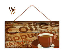 Coffee Bar Sign, Cappuccino, Red Coffee Cup, Rustic Wood Style 5x10 Cafe Sign