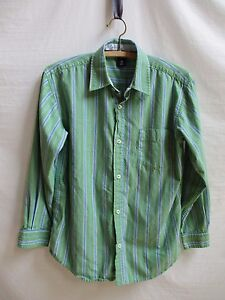 Gap kids Size XL(12) Long Sleeve Green with Blue and White Stripes 100% Cotton