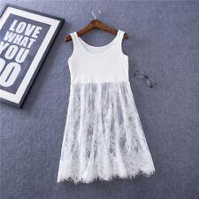 Women Lace Trim Tunic Top Tee Shirt Extender Loose Vest Dress Black/White 2XL