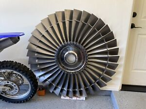 HUGE Boeing B-52 Titanium Jet Engine Fan. Turbine Blade Art Table Disk TF-33