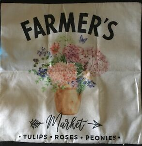 """Linen 17"""" square pillow cover painted FARMER'S MARKET tulips roses peonies zip"""