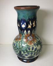 """Vintage 9.5"""" Gouda Holland Vase Green Floral"""