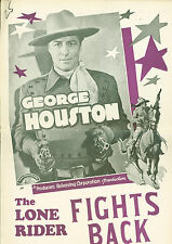 The Lone Rider Fights Back (1941)  George Houston  western pressbook