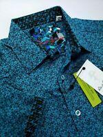 Robert Graham Paisley Floral Print Short Sleeve Sports Shirt Teal Black Medium