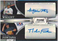 2010 Bowman Sterling USA Dual Black Ref Autograph #BSDA-14 Wright / Fontana #/25