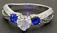 Heavy 14K WG 1.82CT Heart cut diamond & Blue sapphire wedding ring w/ 1.0CT ctr.