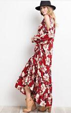 Easel Anthropologie Long Sleeve Ruffle Bottom Holiday Boho Maxi Dress Red large