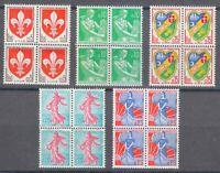France 1960 MNH Mi 1274-1278 Sc 938-942 Blocks of 4  Marianne,farm woman,sower**