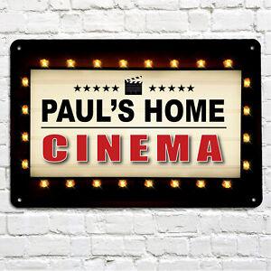 Personalised Home Cinema room billboard metal A4 sign plaque gift Movie room