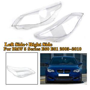 Headlight Headlamp Lens Cover White Left+Right For BMW E60 E61 5Series 525i 530i