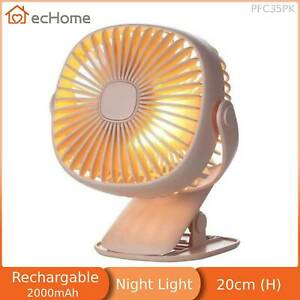 ecHome USB Rechargeable Clip Desk Fan with Light handheld 360° Rotation Pink