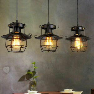 Vintage Industrial Retro Loft Iron Glass Ceiling Retro Wall Lamp Pendant Light