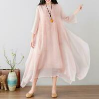 Womens Vintage Silk Blend Floral Embroidery Long Sleeves Maxi Loose Casual Dress