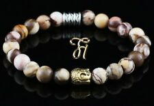 Zèbre Jaspe Braun Beige Bracelet de Perles Tête Bouddha or 8mm