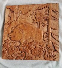 ARTISAN Wooden Wall Art Panel Sculpture Hand Carved Plaque WILD BOAR Gift