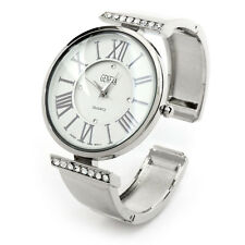 Silver Metal Crystal Large Face Roman Numerals Women's Bangle Cuff Watch