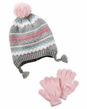 NEW Carter's Girls' 2-Piece Fleece Lined Hat & Glove Set Pink/Grey 4-8