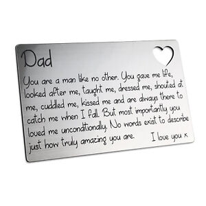 Fathers Day Wallet Card Insert Dad Daddy Gift Present Idea For Him