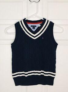 Tommy Hilfiger Boys Navy Blue Cable Knit V-neck Sweater Vest Size 6