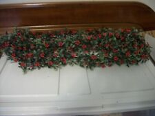 Vintage Christmas Plastic Garland green with red berries