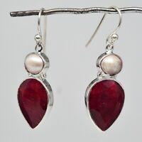 925 Sterling Silver Pearl, Ruby Gemstone Earrings 7.20 gms Jewelry CCI
