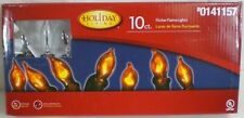 NEW Holiday Living String of 10 Flicker Candle Flame Christmas Lights Green Wire