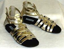 Olsenboye Rear Zip Gladiator Sandals-7.5 M, metallic gold