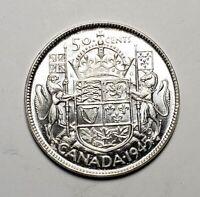 Canada 1945 Silver 50 Cents Half Dollar Coin