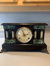 Vintage Gorgeous Black Wood & Marble Ingraham Mantel Clock Works