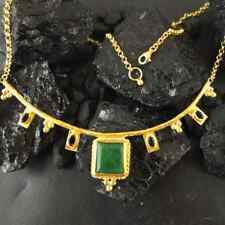 Handmade Designer Natural Emerald Necklace W Sapphire Gold Over Sterling Silver