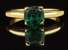 Cushion Shape 1.40CT Real 14KT Yellow Gold Natural Green Emerald Engagement Ring