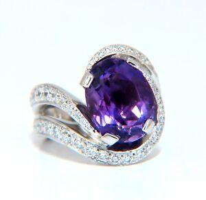 8.30ct Natural Amethyst Diamonds Ring Platinum Swirl Mod Deco