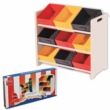 3 TIER STORAGE SHELF UNIT KIDS/CHILDRENS BEDROOM WITH 9 CANVAS DRAWERS/BOXES