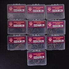 100pcs Fish Hooks Sizes Assorted Fishing Black Sharpened With Box Quality Kits