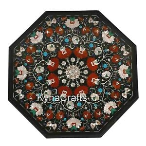21 Inches Marble Patio Sofa Table Shiny Gemstone Inlaid Work Coffee Table Top