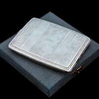 Antique Vintage Deco Nickel Silver Gold Wash EVANS Money Cigarette Case 96.3g