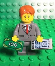Lego New Dark Bluish Gray Suit Red Tie Businessman Mini Figure Smartphone,money