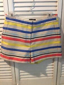 J.Crew Women's Multi-Color Striped Jacquard Shorts Size 2 NWOT