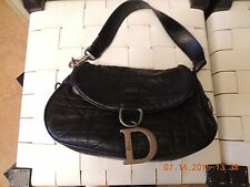 Dior Black soft leather quilted handbag purse