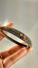 Stunning Heidi Daus  blue green crystal bronze  tone bracelet