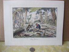 Vintage Print,DAVY JENKINS,G.Cruikshank,1825,Hand Colored